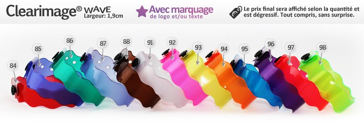 Bracelets Clearimage® Wave (1,9cm) imprimés (avec marquage)