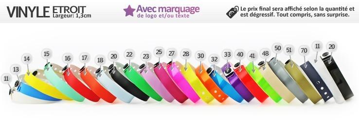 Bracelets Vinyle® Etroit (1,3cm) imprimés (avec marquage)
