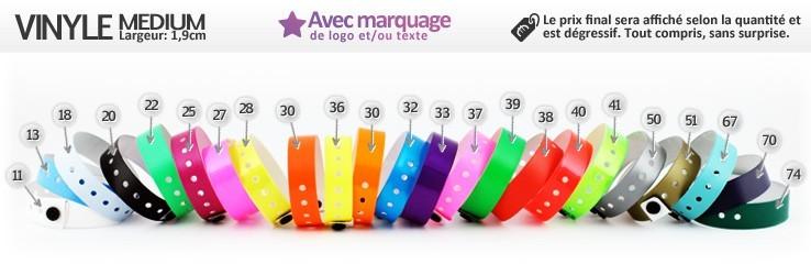 Bracelets Vinyle® Medium (1,9cm) imprimés (avec marquage)