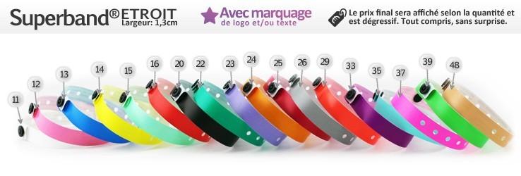 Bracelets Superband® Etroit (1,3cm) imprimés (avec marquage)