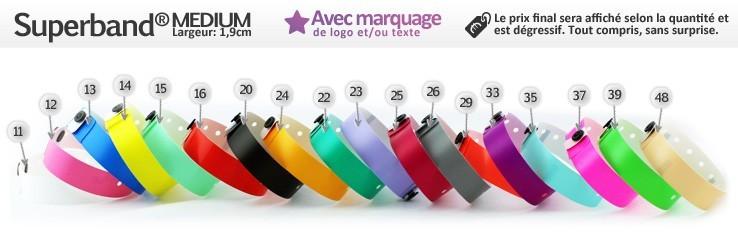Bracelets Superband® Medium (1,9cm) imprimés (avec marquage)