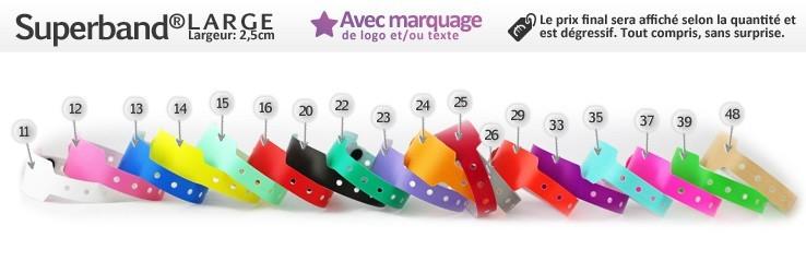 Bracelets Superband® Large (2,5cm) imprimés (avec marquage)