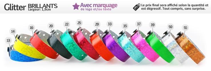 Bracelets Glitter® Brillants (1,9cm) imprimés (avec marquage)