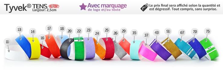 Bracelets en papier TYVEK® Tens (2,5cm) imprimés (avec marquage)