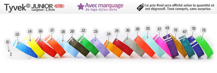 Bracelets en papier TYVEK® Junior (1,9cm) imprimés (avec marquage)