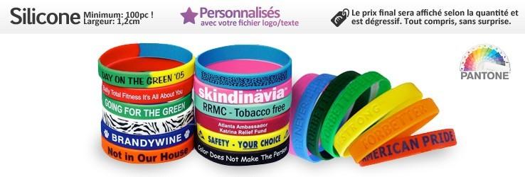 Bracelets en Silicone (Caoutchouc) (1,2cm) à personnaliser