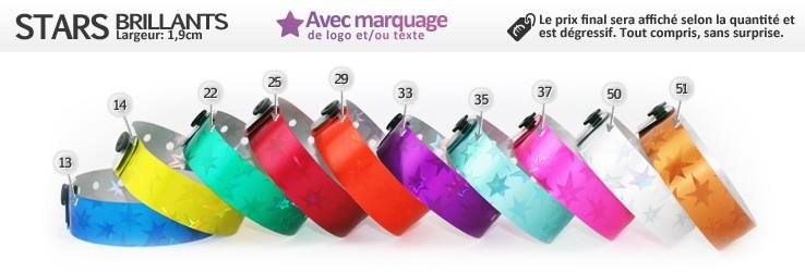 Bracelets Stars Brillants (1,9cm) imprimés (avec marquage)