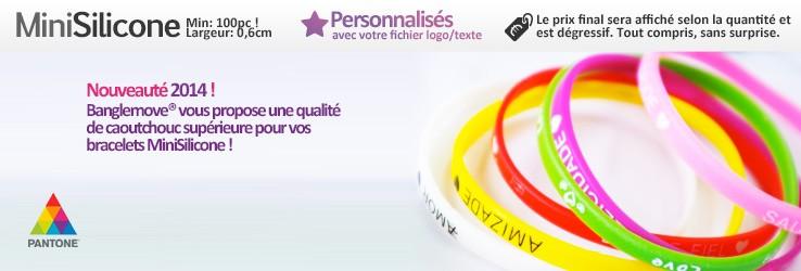 Bracelets Mini Silicone (Caoutchouc) (0,6cm) à personnaliser