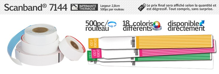 Bracelets Scanband® 7244 pour imprimante thermique (2,8cm de largeur)