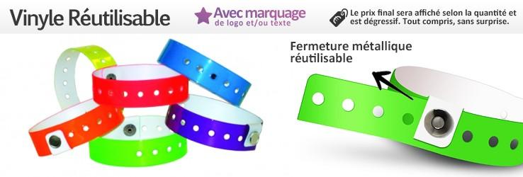 Bracelets Vinyle réutilisables (1,9cm de largeur) imprimés