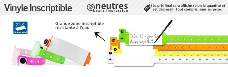 Bracelets Vinyle Inscriptible 520 (2,5cm de largeur) neutres (sans marquage)